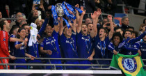 Chelsea celebrate winning 2015 Capital One Cup final at Wembley.