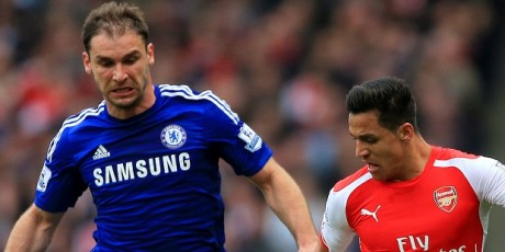 Chelsea's Branislav Ivanovic (left) and Arsenal's Alexis Sanchez in action during the Barclays Premier League match at the Emirates Stadium, London.
