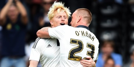 Fulham's Ben Pringle celebrates scoring their first goal during the Pre-Season Friendly match at Craven Cottage, London.