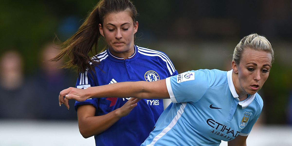 STAINES, ENGLAND - JULY 26: Hannah Blundell of Chelsea Ladies FC and Toni Duggan of Manchester City Women in action during the FA Women's Super League match between Chelsea Ladies FC and Manchester City Women at Wheatsheaf Lane on July 26, 2015 in Staines, England. (Photo by Tom Dulat - The FA/The FA via Getty Images)