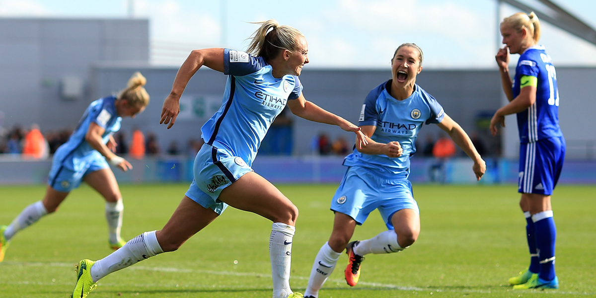 MANCHESTER, ENGLAND - SEPTEMBER 25: Toni Duggan of Manchester City celebrates after scoring her teams second goal of the game during the WSL 1 match between Manchester City Women and Chelsea Ladies FC on September 25, 2016 in Manchester, England. (Photo by Ben Hoskins - The FA/The FA via Getty Images)