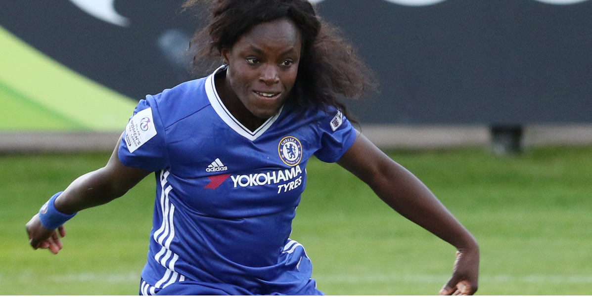 HETTON, ENGLAND - JUNE 29: Eniola Aluko of Chelsea during the WSL 1 League match between Sunderland Ladies and Chelsea Ladies FC at the Hetton Center on June 29, 2016 in Hetton, England. (Photo by Ian Horrocks - The FA/The FA via Getty Images)