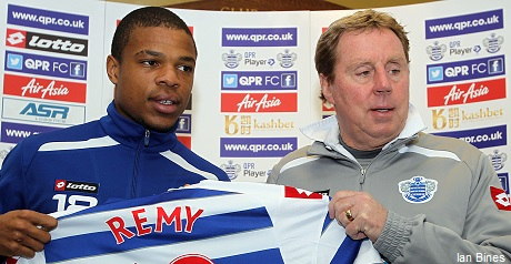 Loic Remy and Harry Redknapp