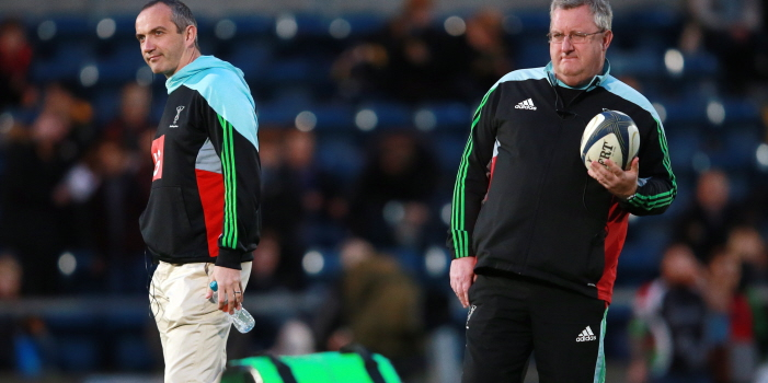 Harlequins coaches Conor O'Shea and John Kingston during the European Rugby Champions Cup match at Adams Park, High Wycombe.