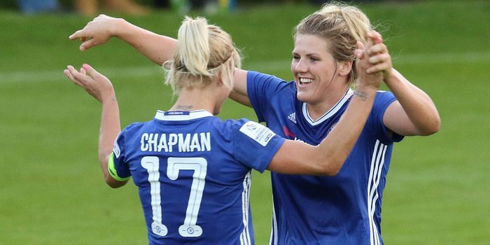 Katie Chapman and Millie Bright of Chelsea Ladies