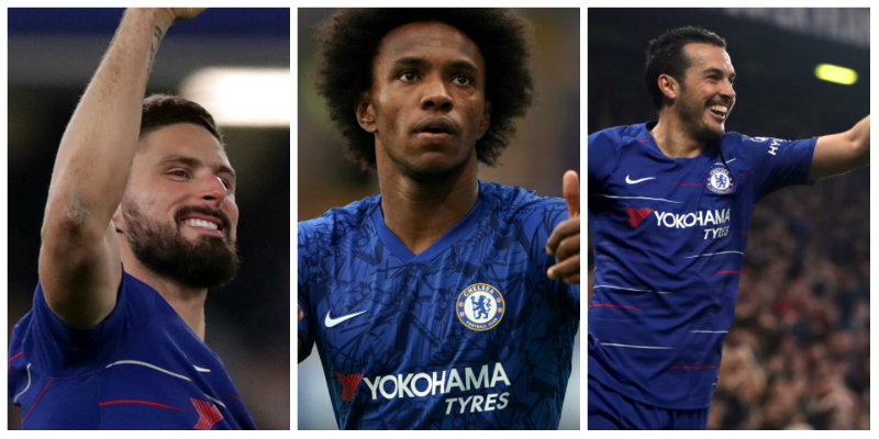 Chelsea: Olivier Giroud, Willian and Pedro