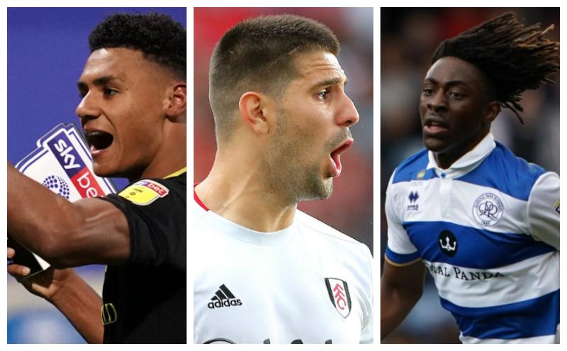 Ollie Watkins of Brentford, Aleksandar Mitrovic of Fulham and Ebere Eze of QPR