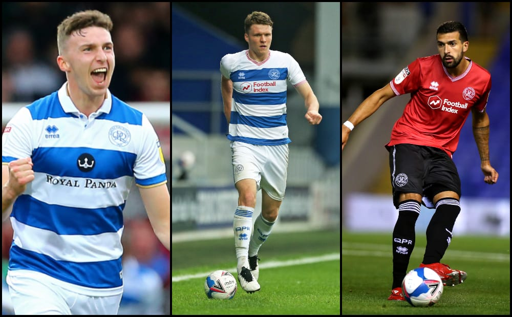 QPR defenders Conor Masterson, Rob Dickie and Yoann Barbet